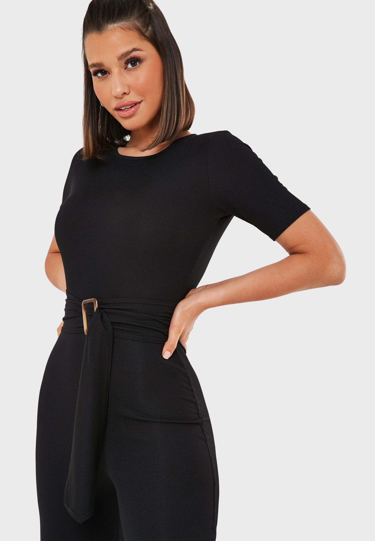 Ribbed Buckle Detail Jumpsuit