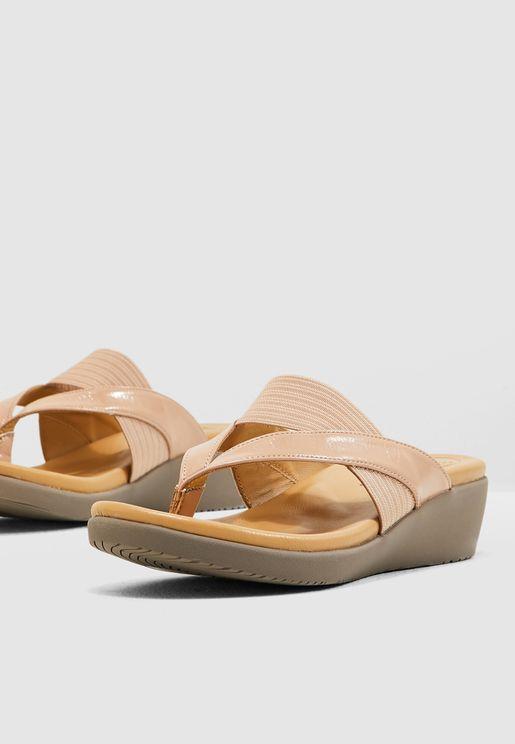 Casual Wedge Sandal - Beige