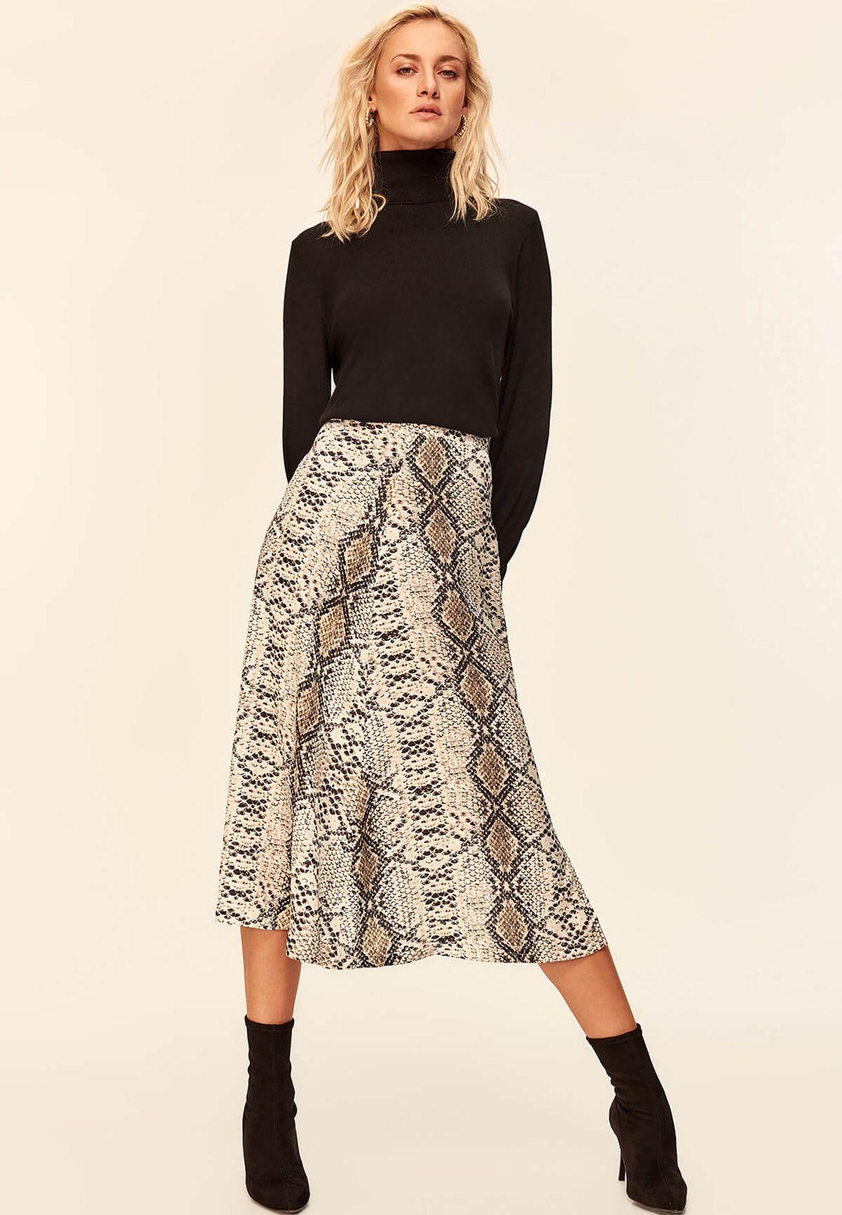 Snake Print Slit Detail Skirt