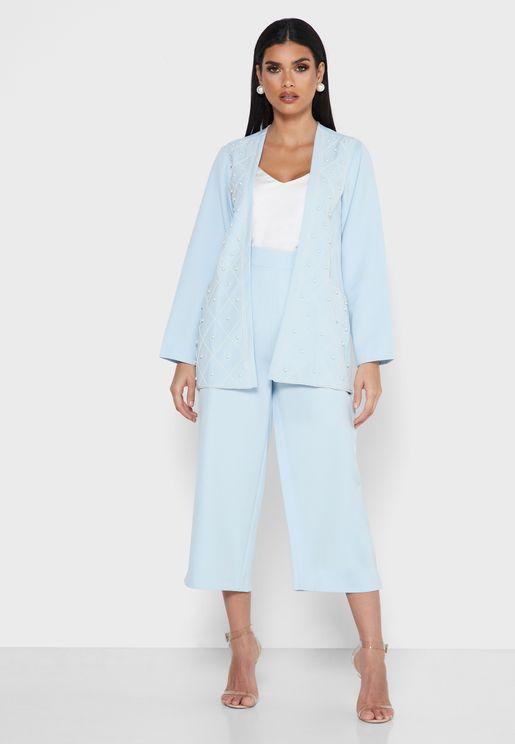 Pearl Embellished Jacket & Pants Set