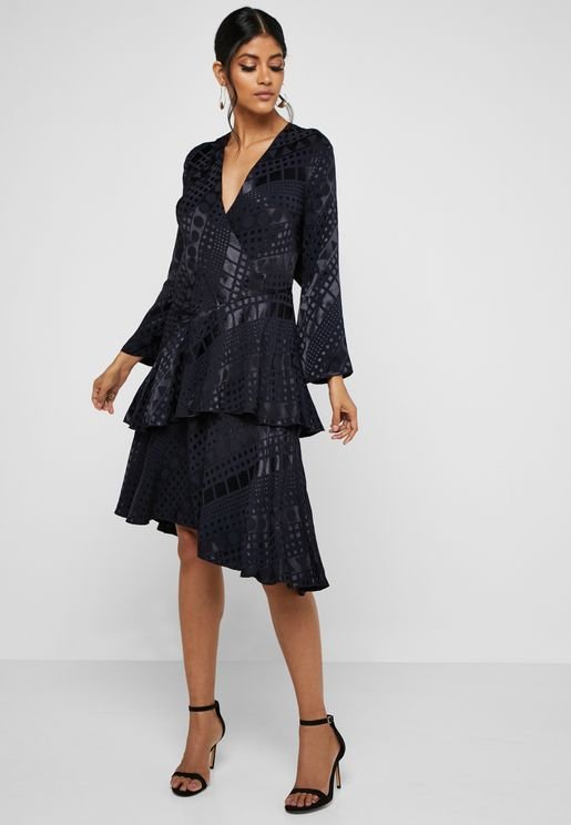 Asymmetric Jacquard Surplice Dress