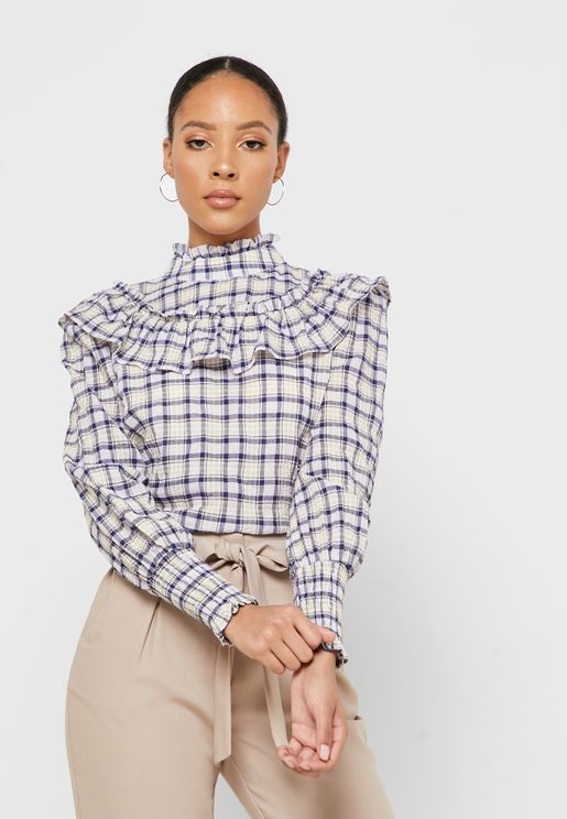 Ruffle Detail Checked Top