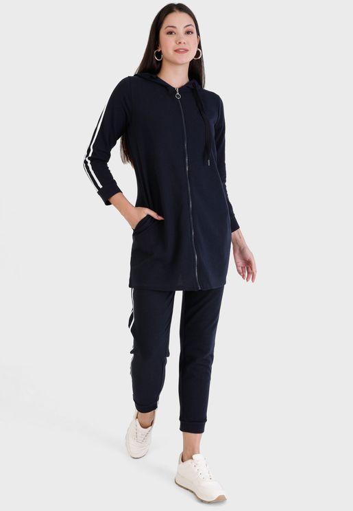 Striped Hoodie & Pants Set