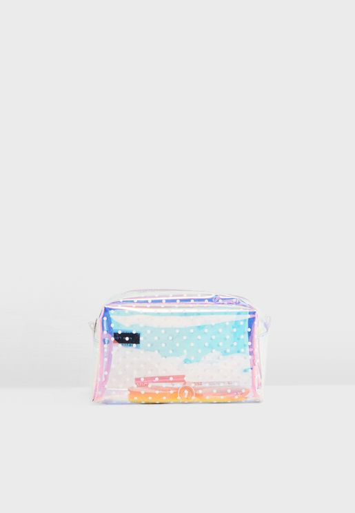 Holographic Polka Dot Cosmetic Bag