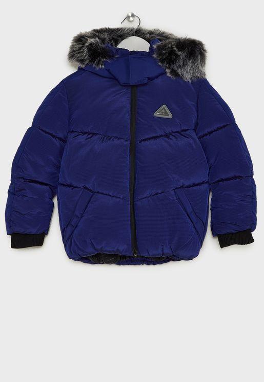 Kids Fur Hood Padded Jacket
