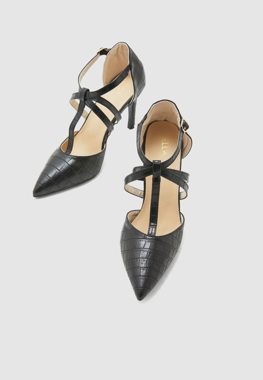 Strap Detail Pointed Toe Pumps