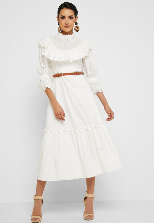 Ruffle Detail Belted Dress