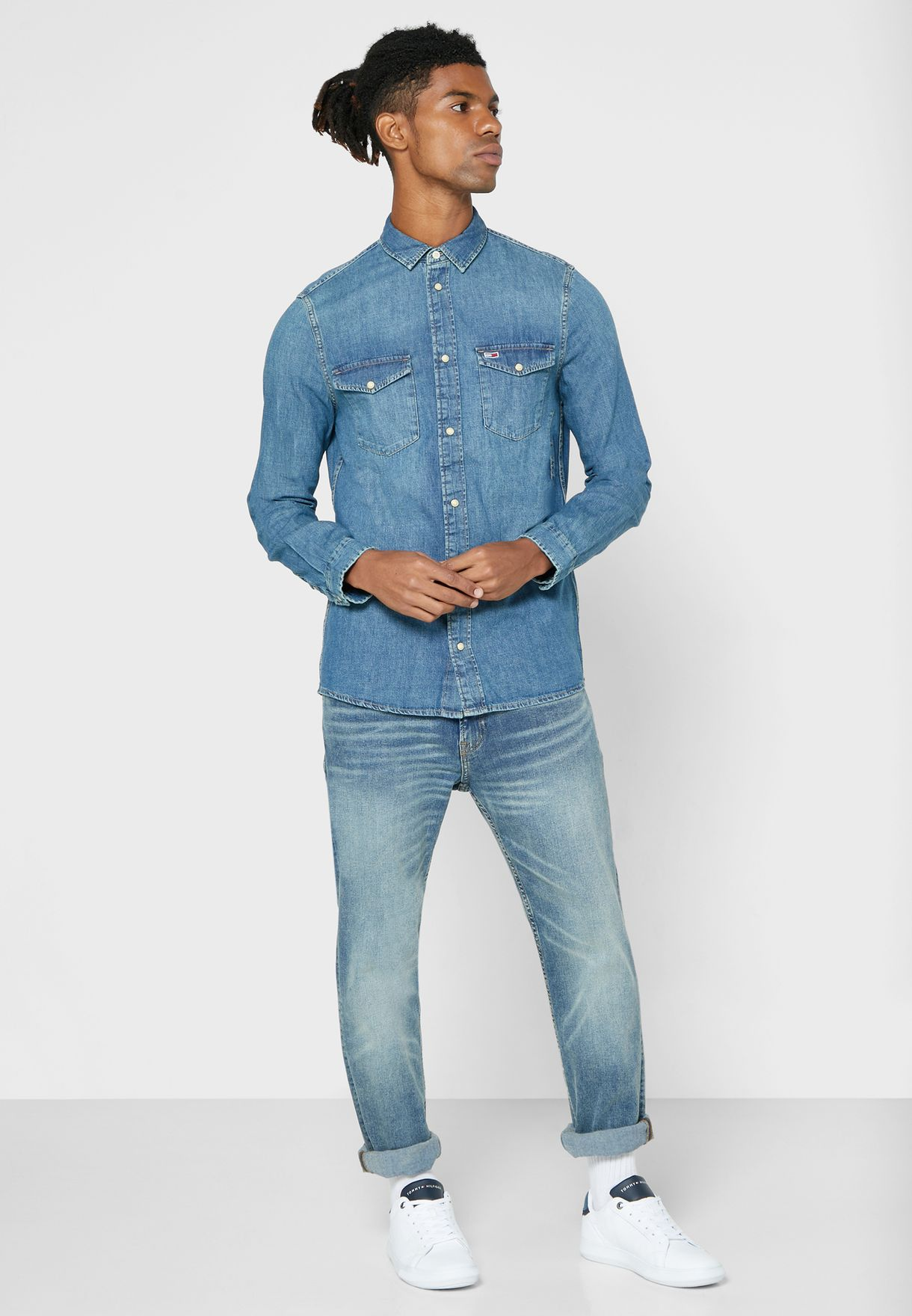 قميص جينز سليم فت