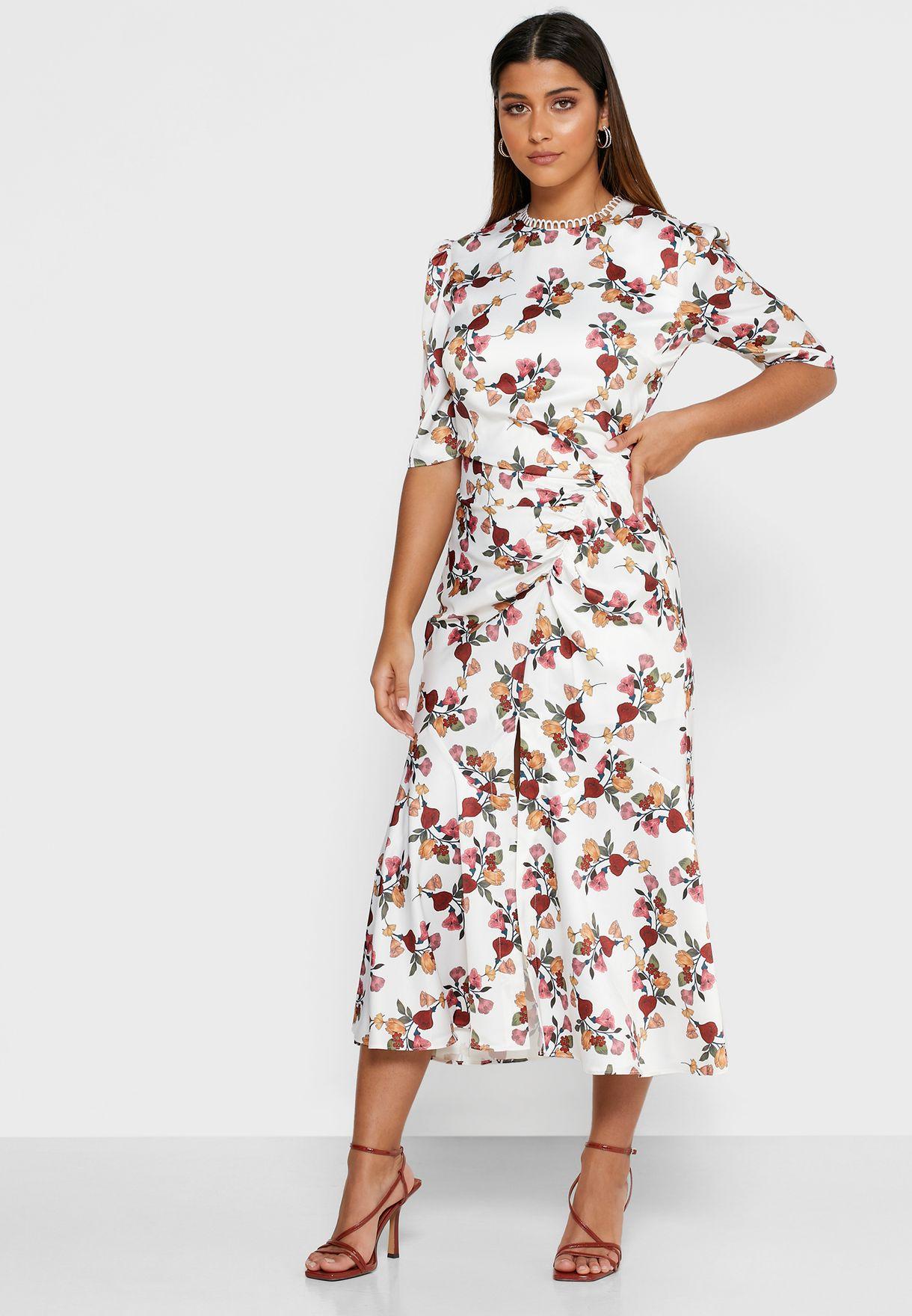 Everlasting Floral Print High Neck Dress