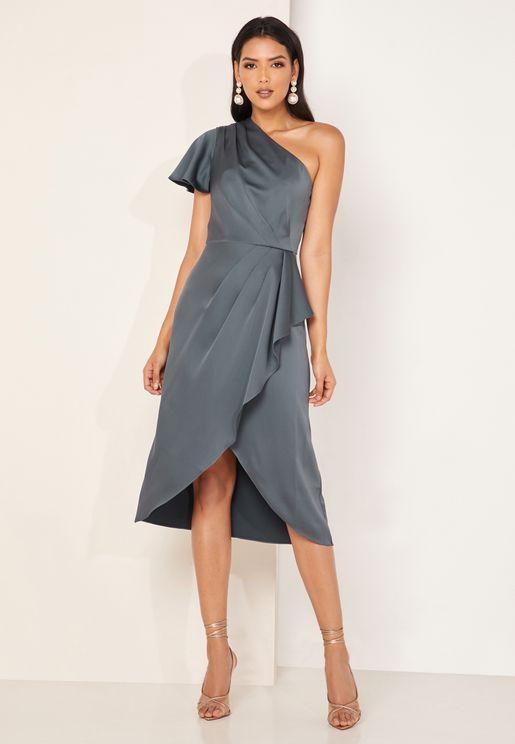 Ridah One Shoulder Satin  Dress