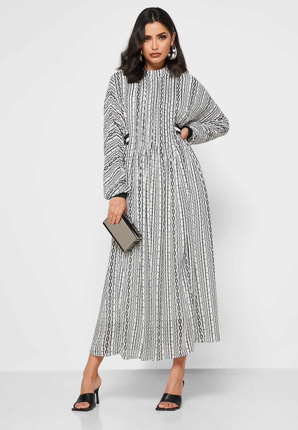 Printed Sheer Overlay Midi Dress