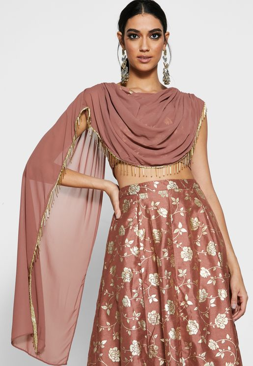 Dusty Pink Foil Crop Top with Attached Dupatta