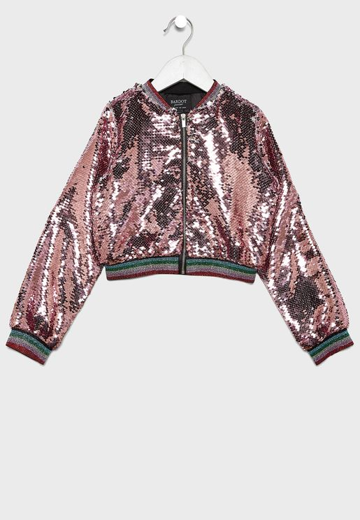 Little Eva Sequin Bomber Jacket