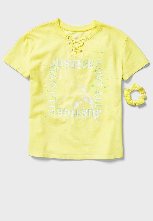 Kids Slogan T-Shirt + Headbands Set