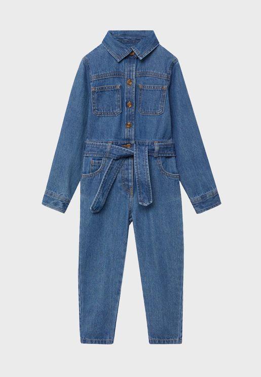 Infant Mid Wash Denim Jumpsuit