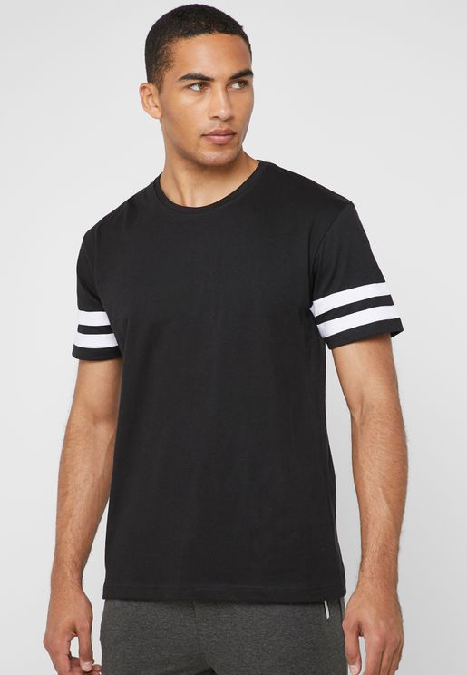 Stripe Detail Sleeves Crew Neck T-Shirt