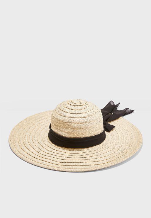 Straw Hat With Chiffon Tie
