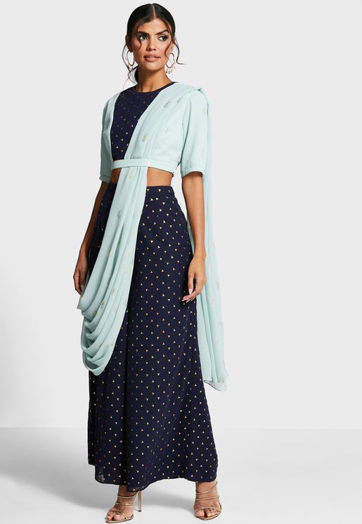 Indya X Payal Singhal Navy Foil Palazzo Pants with Attached Dupatta