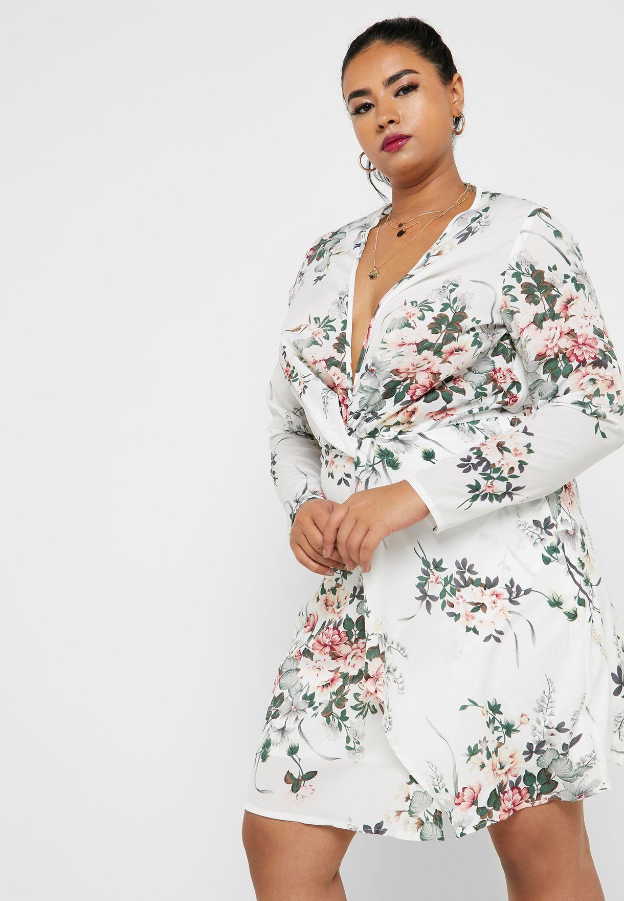 fe077891b105e5 Shop Missguided Curve prints Floral Print Twist Front Dress ...