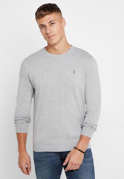 Logo Embroidered Slim Fit Knitted Jumper