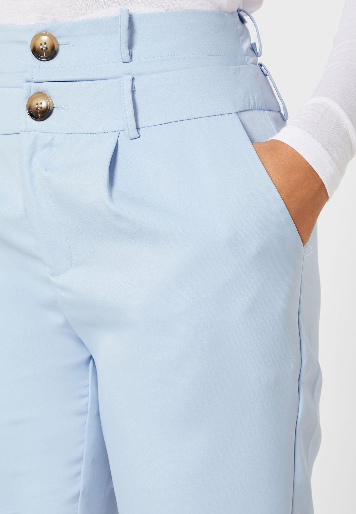 Detailed Waist Tailored Cigarette Pants
