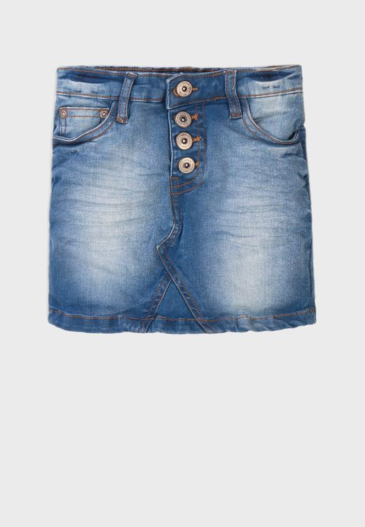 Kids Basic Denim Skirt