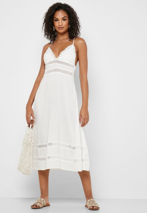 Crochet Trim Cami Dress