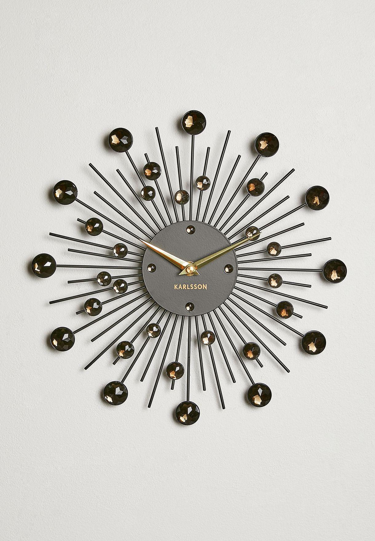 Sunburst Crystal Wall Clock