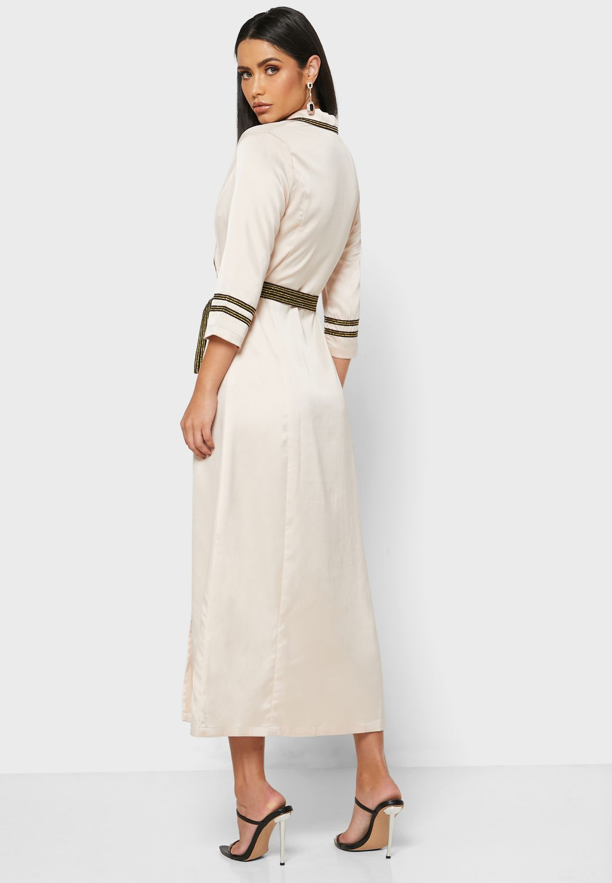 Wrap Front Belted Midi Dress
