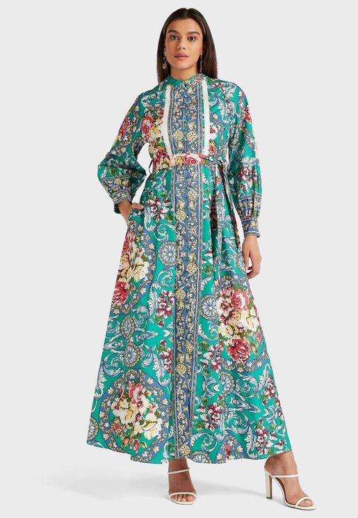 Printed Tie Waist Maxi Shirt Dress