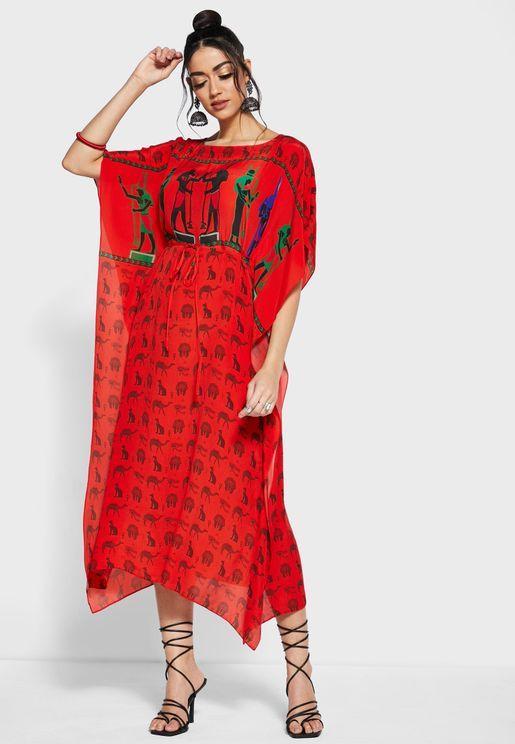 فستان قفطان مطبع