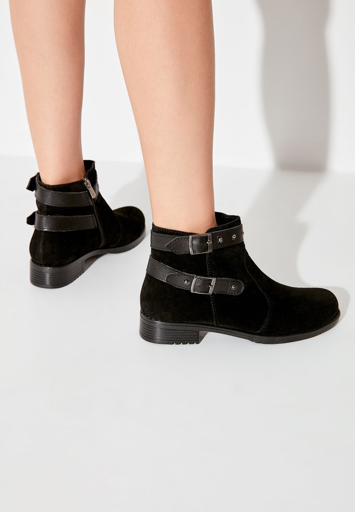 Ankle Strap Low Heel Boot