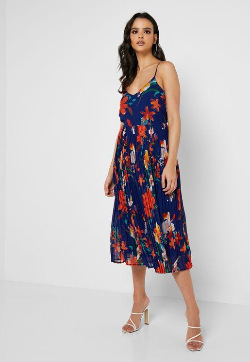 538377af1ae Cami Printed Pleated Dress