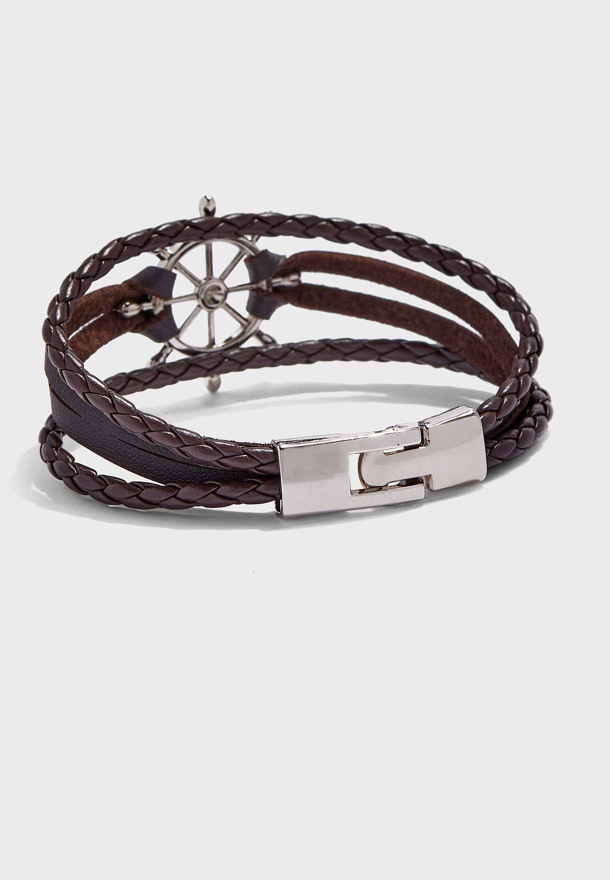 Anchor Braided Strap Bracelet Set