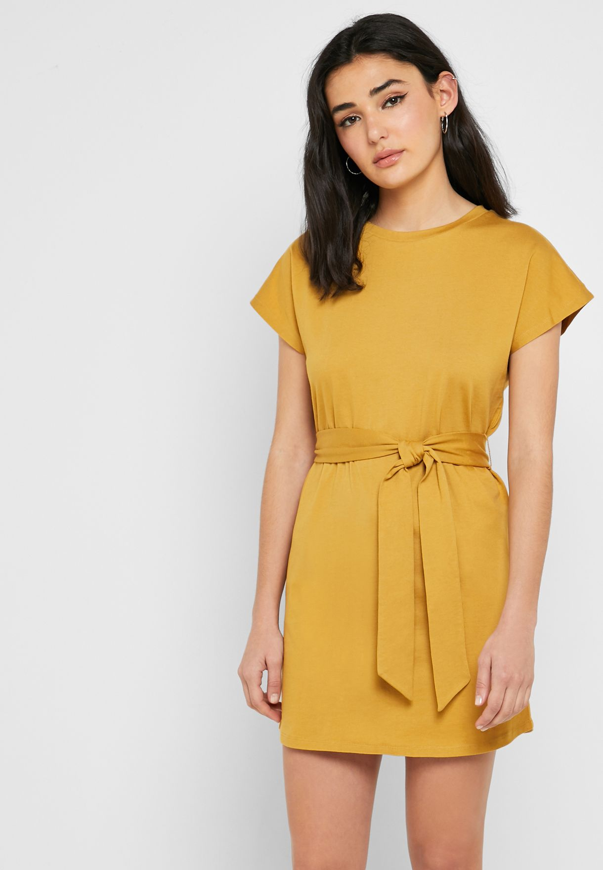 Shop Forever 21 Yellow Belted T Shirt Dress 331376 For Women In Uae