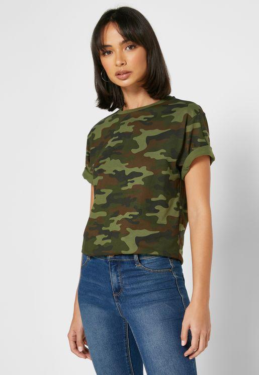 Camo Round Neck T-Shirt