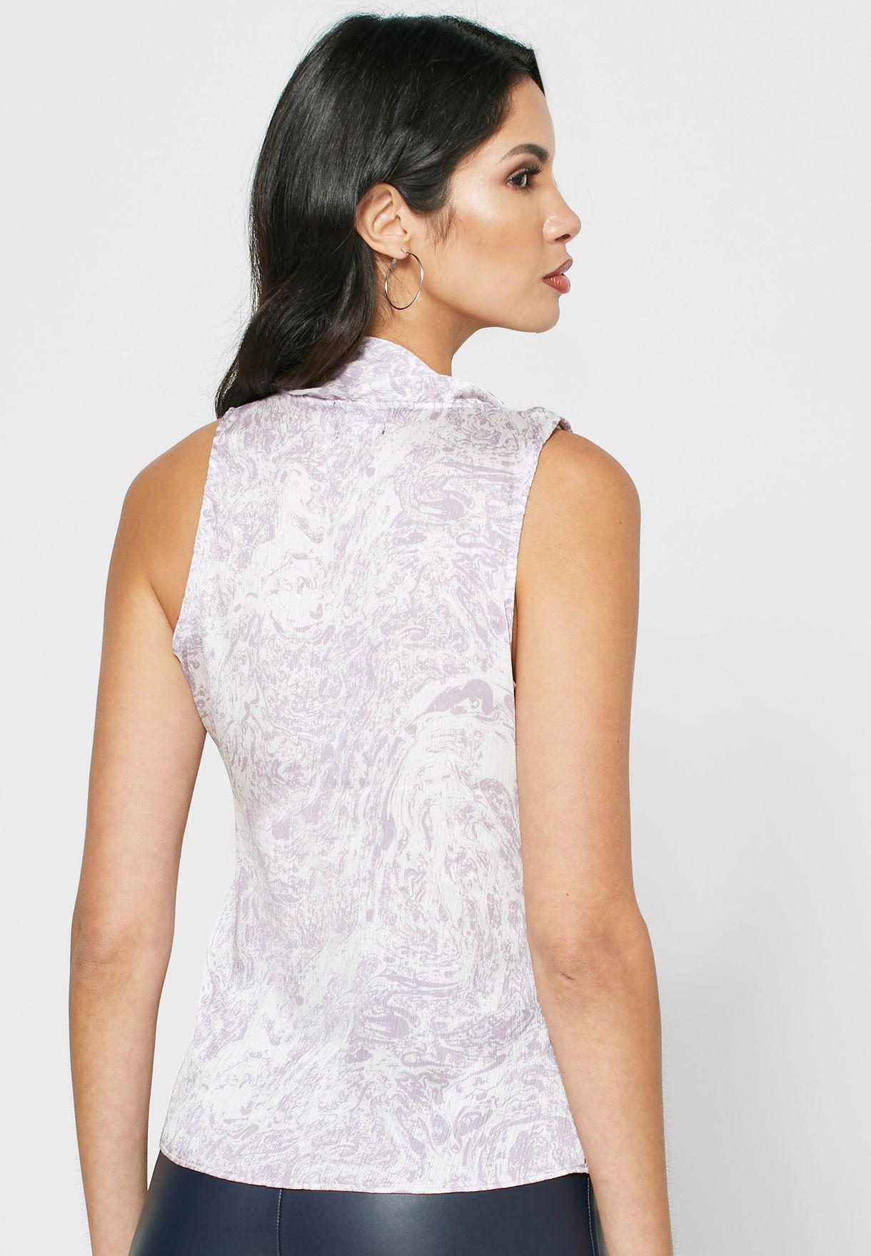 Tie Shoulder Printed Top