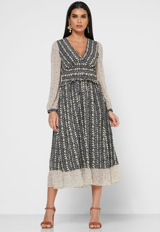 Printed Detail Midi Dress