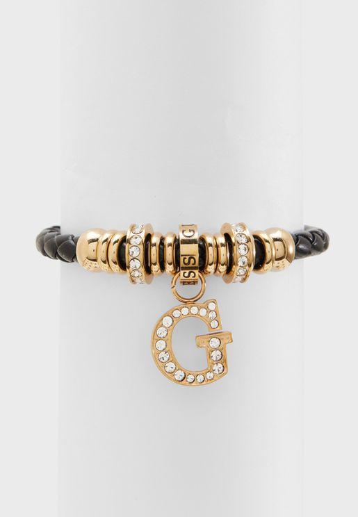 B-Black G Charm & Beads Bracelet