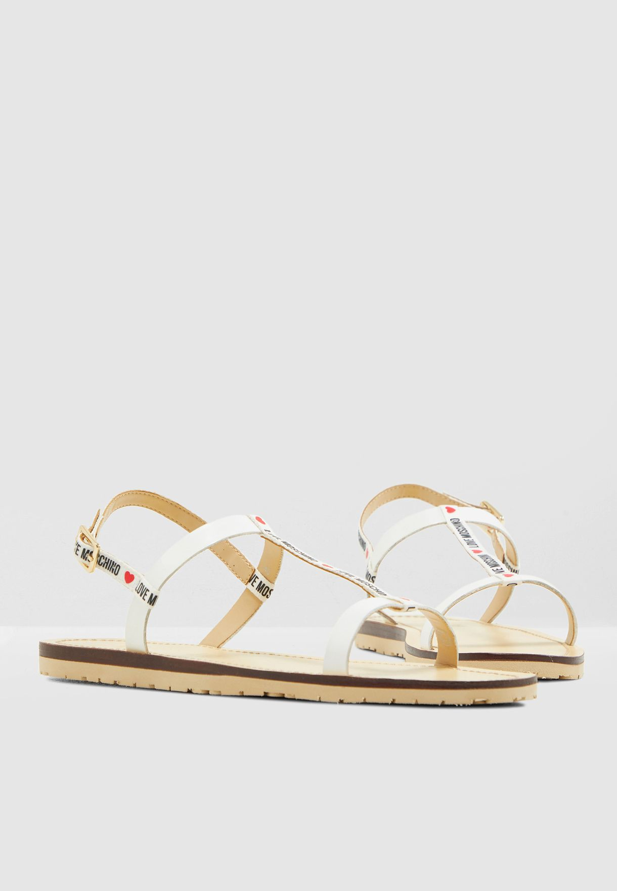 c9ff0fbbd1f4 Shop Love Moschino white Casual Flat Sandal JA16421G07JV110B for ...