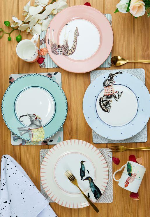 مجموعة صحون عشاء مزينة بحيوانات (عدد 4)