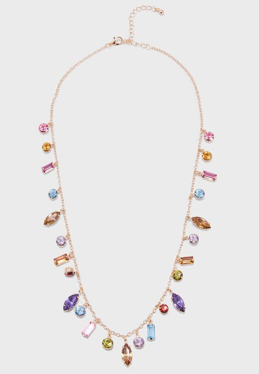Multi Coloured Jewel Details Necklace