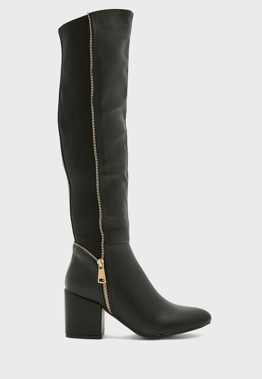 Pull On Zip Detail Riding Boot