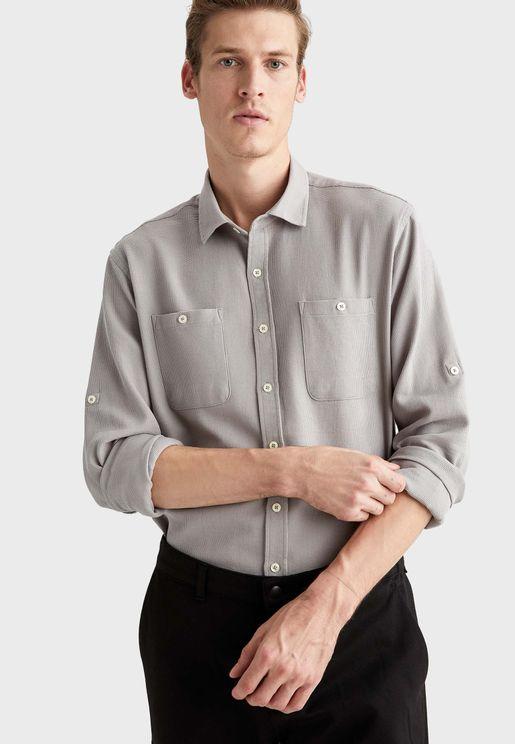 Pocket Detail Regular Fit Shirt