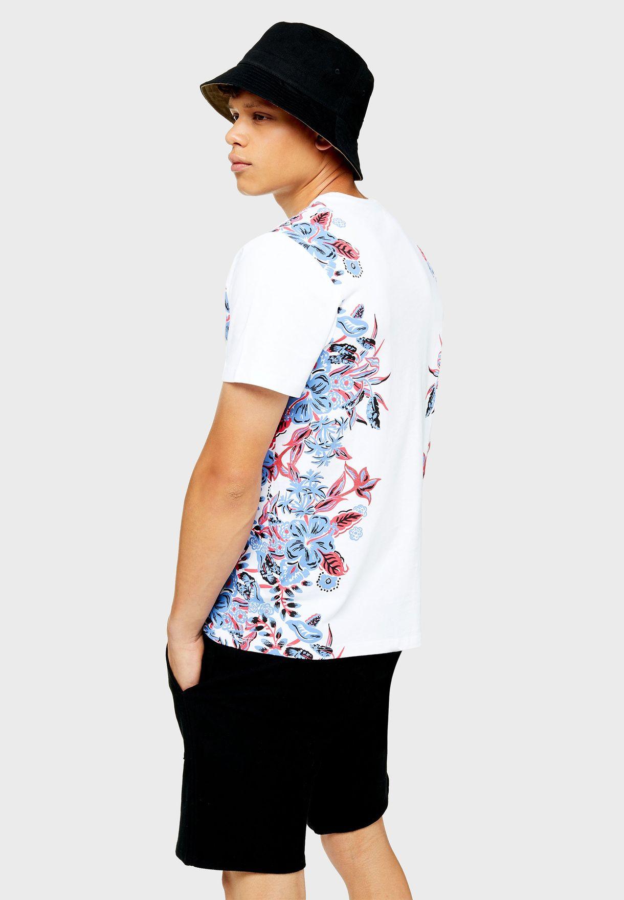 Side Floral Print Crew Neck T-Shirt