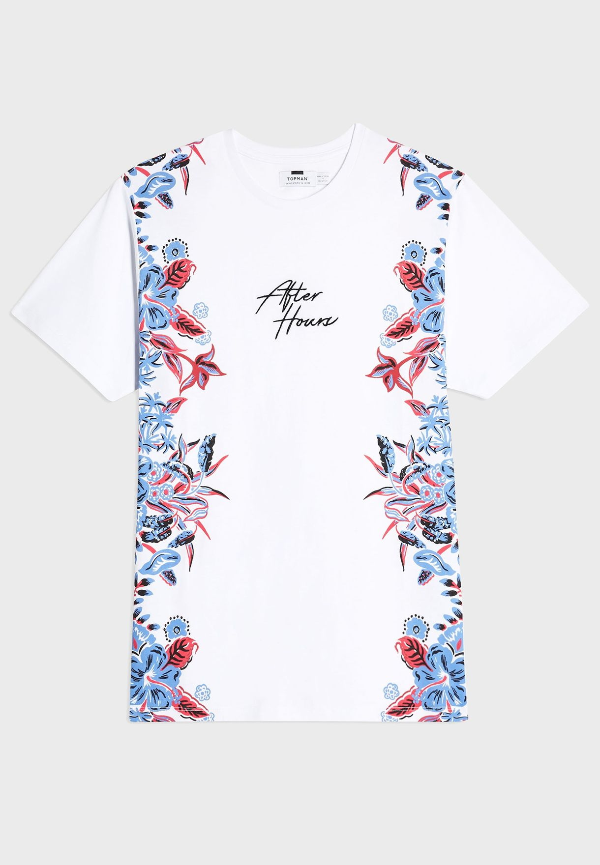 Side Floral Print Crew Neck T-Shirt