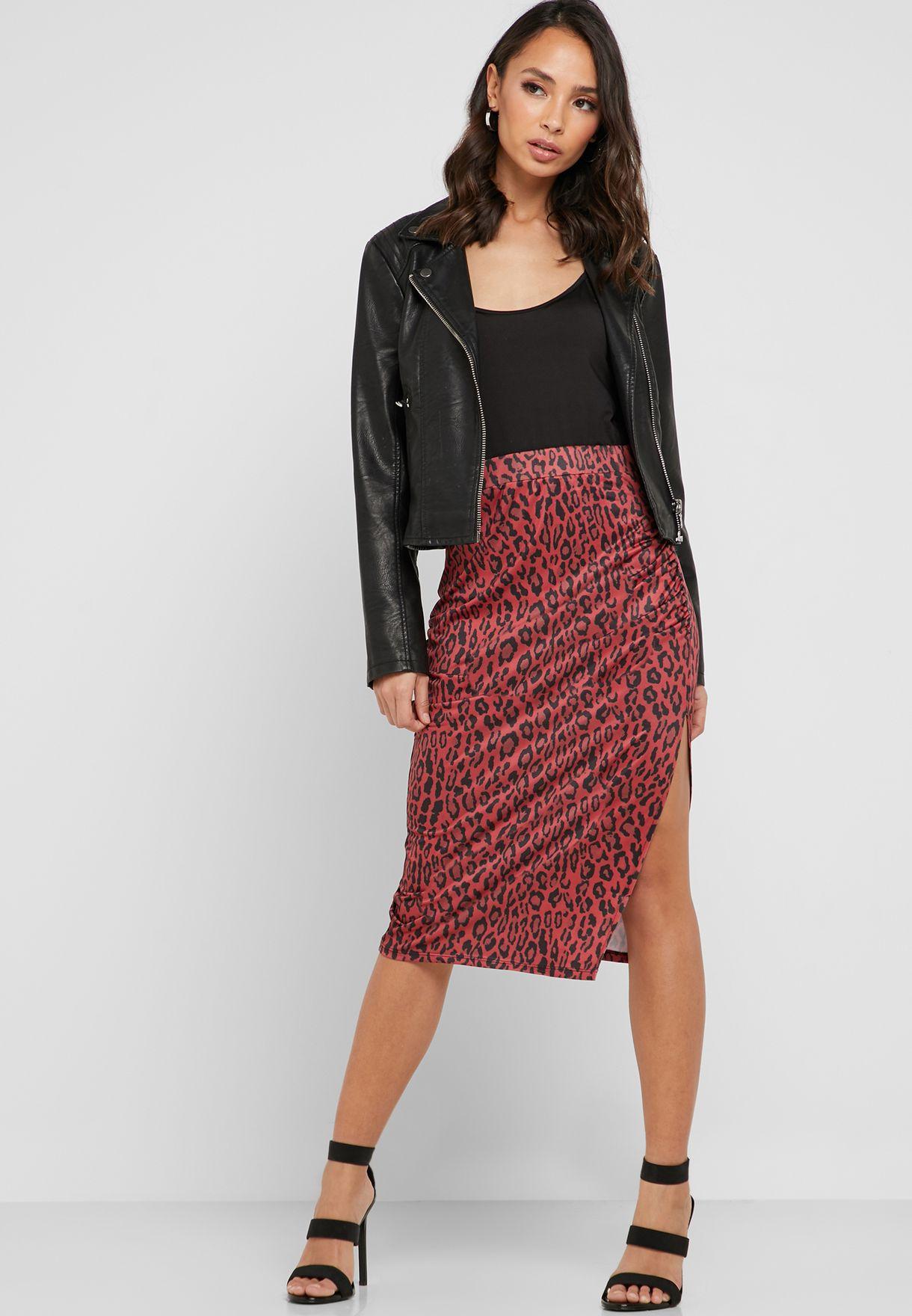 quality design 0a40e 73333 Side Split Print Skirt