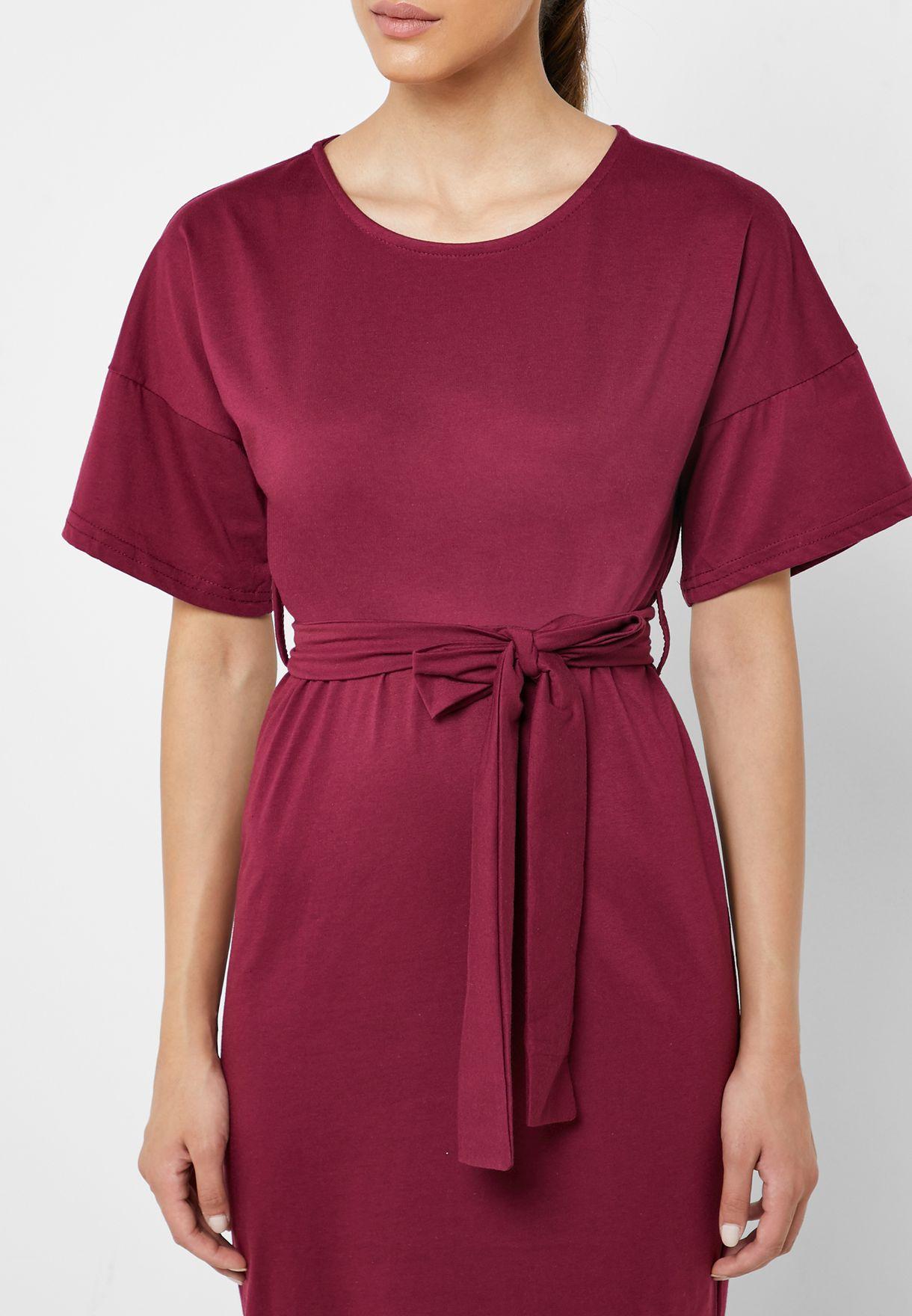 Kimono Sleeve Self Tie Midi Dress