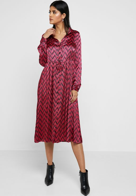 Printed Front Slit Shirt Dress