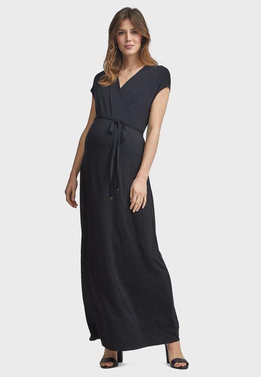 V-Neck Side Tie Wrap Dress